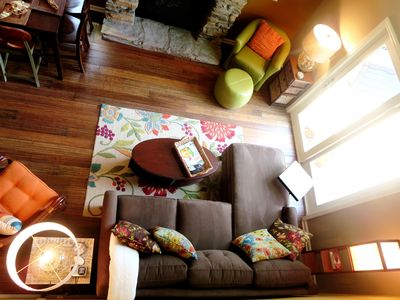 The living room as seen from the loft.