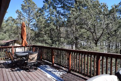 Large Front deck.  Great for a summer cookout or morning coffee.