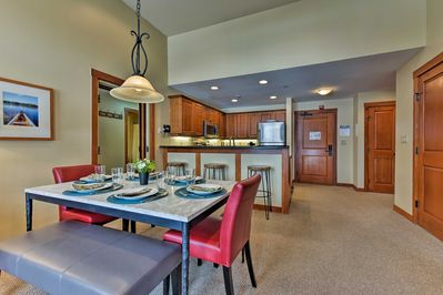 Up to 10 guests can sleep comfortably at this condo.