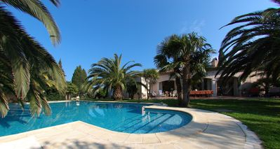 Photo for 'bouillabaisse' sandy beach end St Tropez on foot, swimming pool, closed parking,