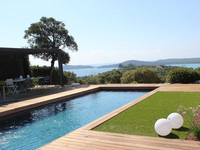 Photo for Stunning views of sea and mountain in this fully renovated contemporary villa