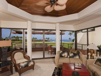 Photo for Elegant Furnishings, gorgeous ocean, golf course , and lava flow views
