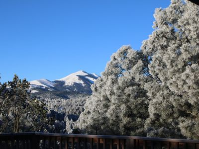Winter view of Sierra Blanca from rear deck (three levels)