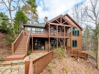 Photo for Serenity Lodge on Lake Lure - Right on the Lake, Boat House Deck, Canoe, Internet and More!