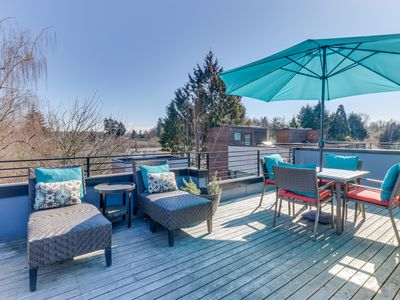Photo for NEW LISTING! Dog-friendly home, w/ city view & rooftop terrace, Stroll to Cafes!