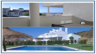Photo for Large balcony terrace sea view swimming pool | wifi | parking garage wave peace