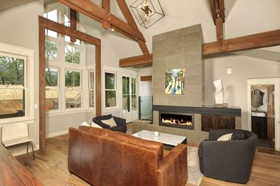 Great Room with Mountain Modern Decor and Art