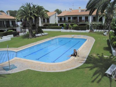 Photo for Easy walk to center Sitges, to beach(600m)Gated garden,pool,Free Wifi,Air condit