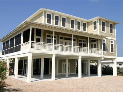 Photo for Pool, Jacuzzi, 2 screen porches, 4000sf, Gulf views, covered parking for 4 cars