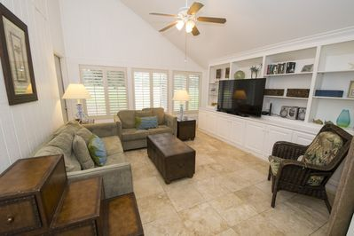 This house has plenty of room for everyone with a large living area and a sunroom that functions as a second living area or den. The sunroom includes one queen sleeper sofa, so this villa is perfect for a large group.