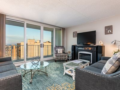 Photo for NEW LISTING! Oceanfront, 24th-floor condo w/balcony, fireplace & great amenities
