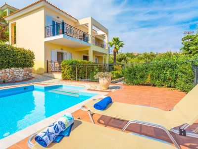 Photo for Skala Villa Yellow: Large Private Pool, Walk to Beach, Sea Views, A/C, WiFi