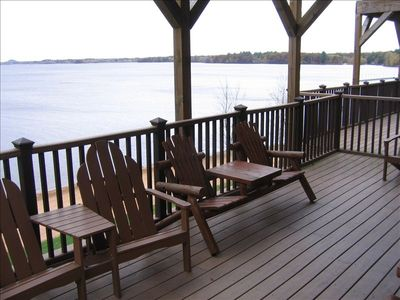 Enjoy beautiful views on the large deck overlooking Castle Rock Lake