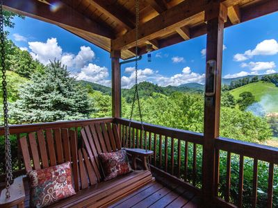 Photo for 2BR/2BA Cozy Log Cabin with Hot Tub, Fire Pit, Pastoral Views, Close to Boone, Covered Deck, Views from Bedrooms