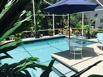 The tropical pool and coquina rock waterfall offer a refreshing cool respite.