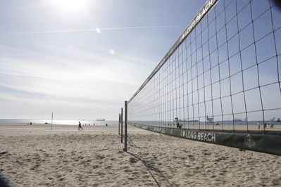Volleyball courts across the street from apartment at the Beach