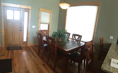 Dining room with extended table (leaf removed in picture.)