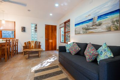 This casita features a pull-out couch bed for 2 in the main living area