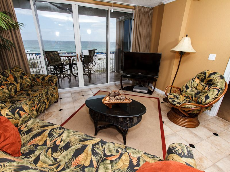 Panoramic Shot Of The Roomy Water Front Family Room Shows Up