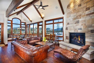 Enjoy the mountain views from the large windows.