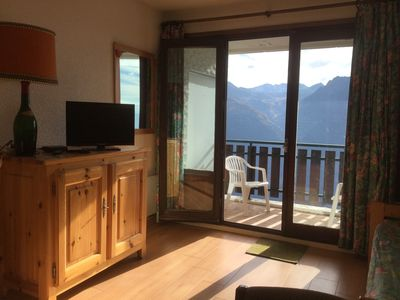 Photo for SOUTH FACING BALCONY studio in the heart of the resort, the slopes.