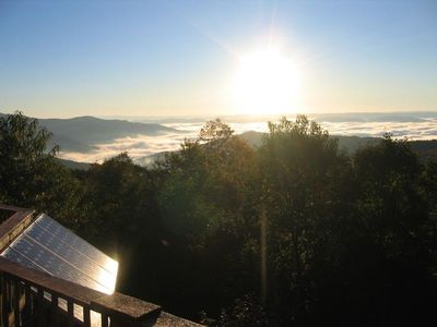 Morning Sunrise reflecting off of the solar panels.