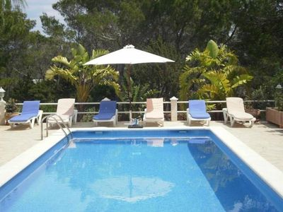 Photo for Santa Eulalia Del Rio: chalet - IbizaHouse with character with pool and bbq place and magic seaview