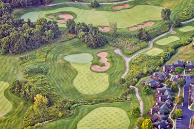 Hole #15 aerial view.  Cottage #4 is 3rd one from the bottom right