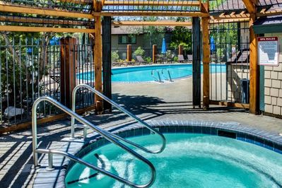year round hot tub - available for familes  summer adult pool, there is a second pool available for familes