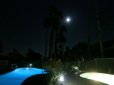 Pool & Spa Area at Night under the Moon Light