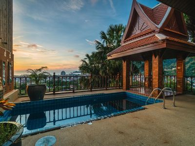 Photo for 50pee - Seaview pool villa in Patong, boxing bag, foosball table, darts and fun!