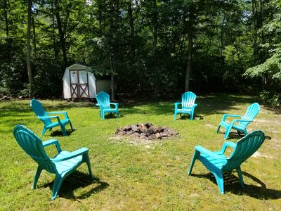 Relax with a bonfire right in your own private backyard!