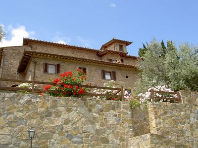 Photo for Nice apartment with pool, WIFI, patio, panoramic view and parking, close to San Gimignano