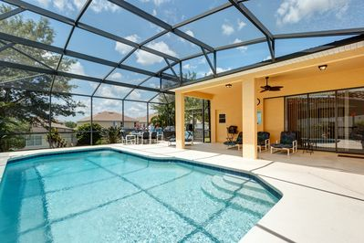 Large Sunny Pool Deck with solar heated pool year round.