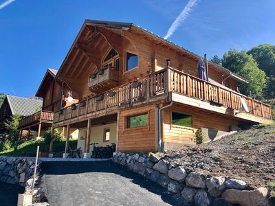 Photo for RECENT WOODEN CHALET ANY COMFORT IN ALLOS WITH SAUNA, JACUZZI OUTSIDE