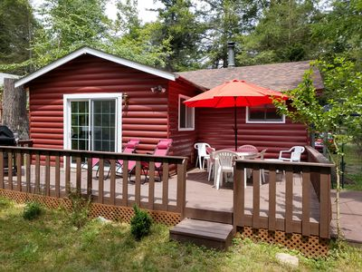 Photo for Beautiful woodland cabin with all new furniture, linens, electronics, appliances