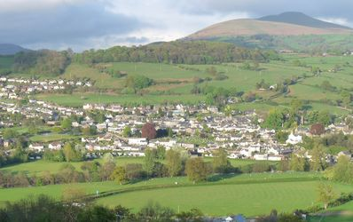 View from barn of Crickhowell and Sugar Loaf