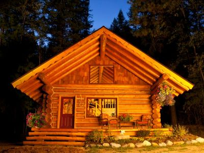 Photo for Gorgeous hand crafted log cabin in Idaho forest/mountain setting
