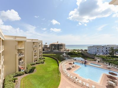 Photo for Gulf view condo in a beachfront complex w/ shared pool & hot tub!