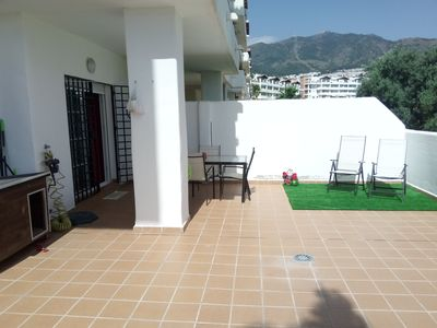 Photo for Luxury apartment overlooking the pool and golf course. 2 kms from the beach. Wifi.