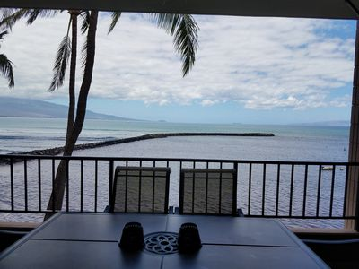 Your oceanfront view from lanai.  You'll think you're on a cruise ship!