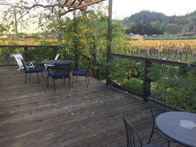 Deck w vineyard views