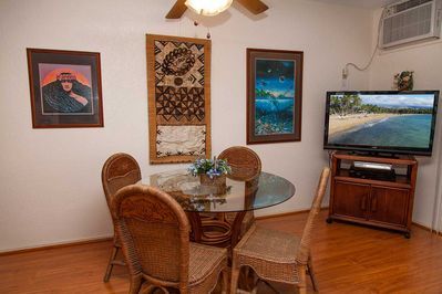 Comfortable dining and a large TV