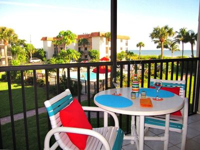 2C2 Fantastic Gulf of Mexico and heated pool views from afternoon shaded lanai.
