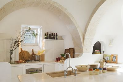 The Trullo's large kitchen with island unit.