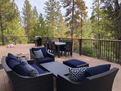 Expansive outdoor living space 1200 sqft wrap-around deck