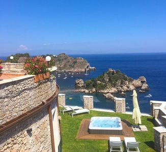 Photo for VILLA SPARVIERO APARTMENT TAORMINA Sea View Terrace + Jacuzzi