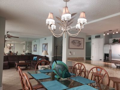 Gulf view kitchen & dining room area. Enough room to entertain in. Seats 10.