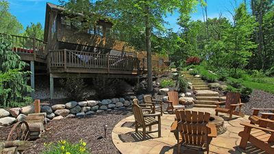 Photo for Low key scenic retreat with rustic decor, large fire pit and rec room