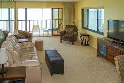 "Living Room - Windows on 2 sides, access to balcony, 50"" TV & Blu-Ray player"
